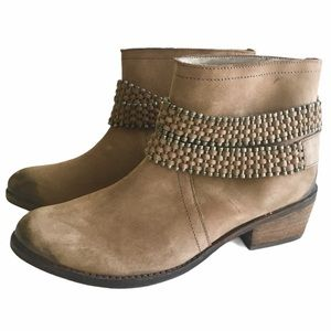 Matisse Leather Suede Chain Moto Heel Ankle Boots
